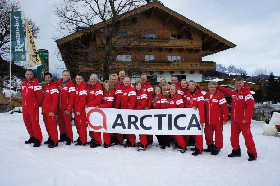 International Airline Ski Federation officials in Arctica team apparel at World Airline Ski Championships 2018