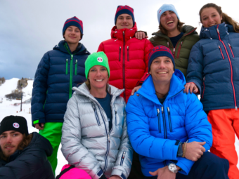 A group of skiers wearing Arctica Down Packets/